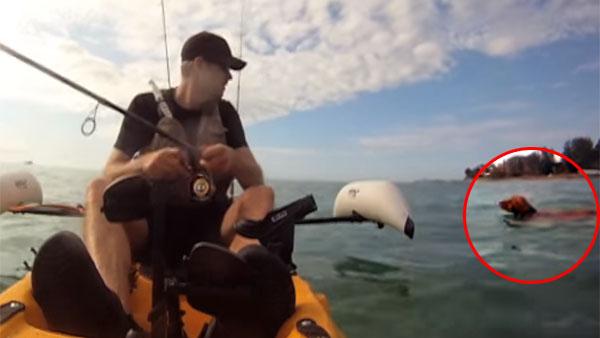 海を泳いでいる犬を、釣り人が救助2