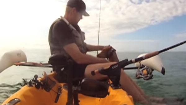海を泳いでいる犬を、釣り人が救助3